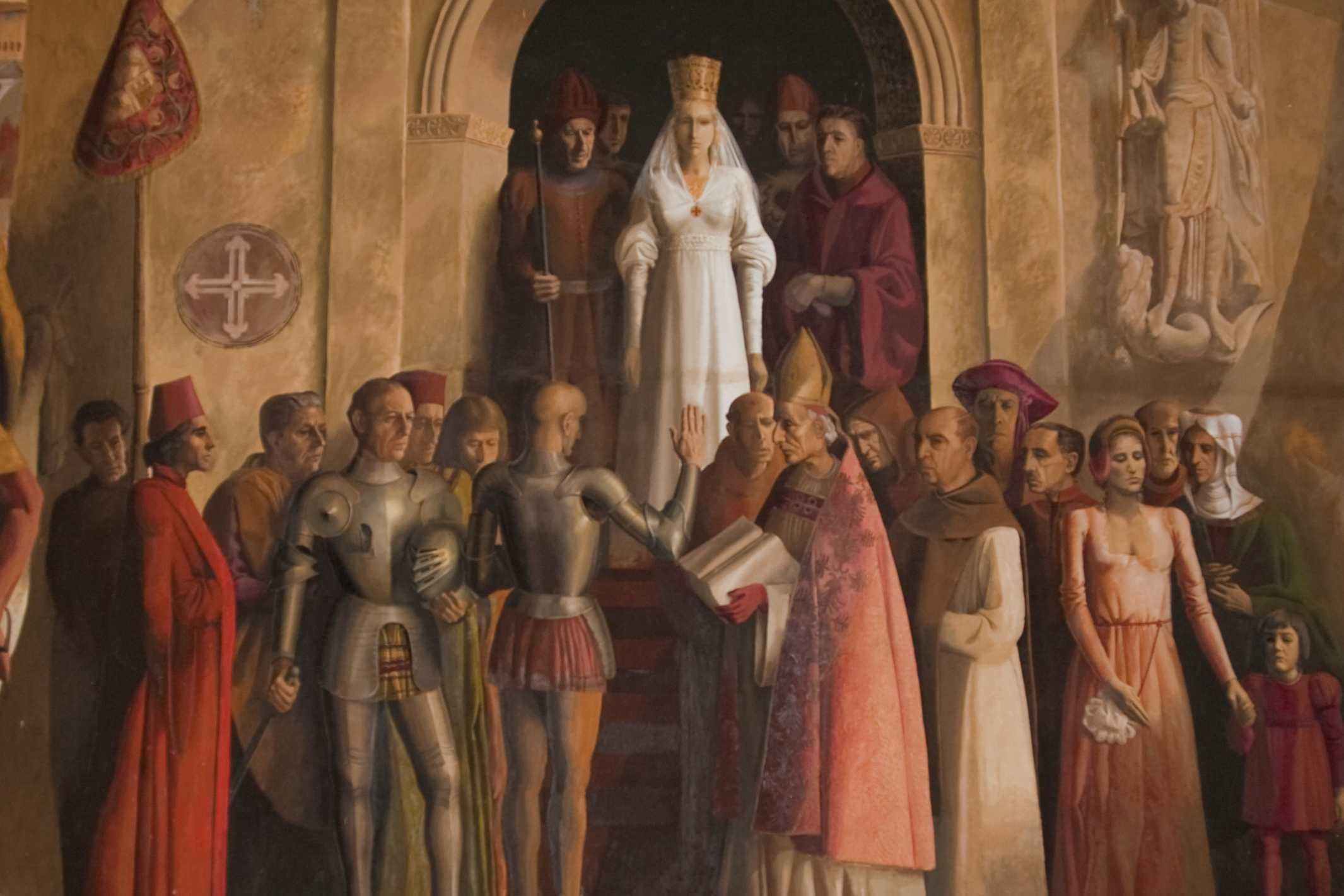 Contemporary mural by Carlos Munos de Pablos depicting proclamation of Isabella as queen of Castile and Leon
