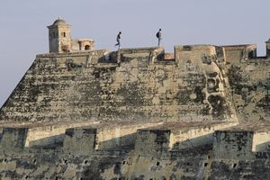 Two visitors at the Castillo San Felipe, Cartagena, Colombia