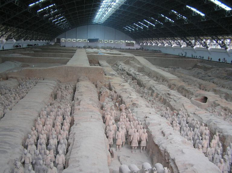 Terracotta Army in the mausoleum of the first Qin emperor.