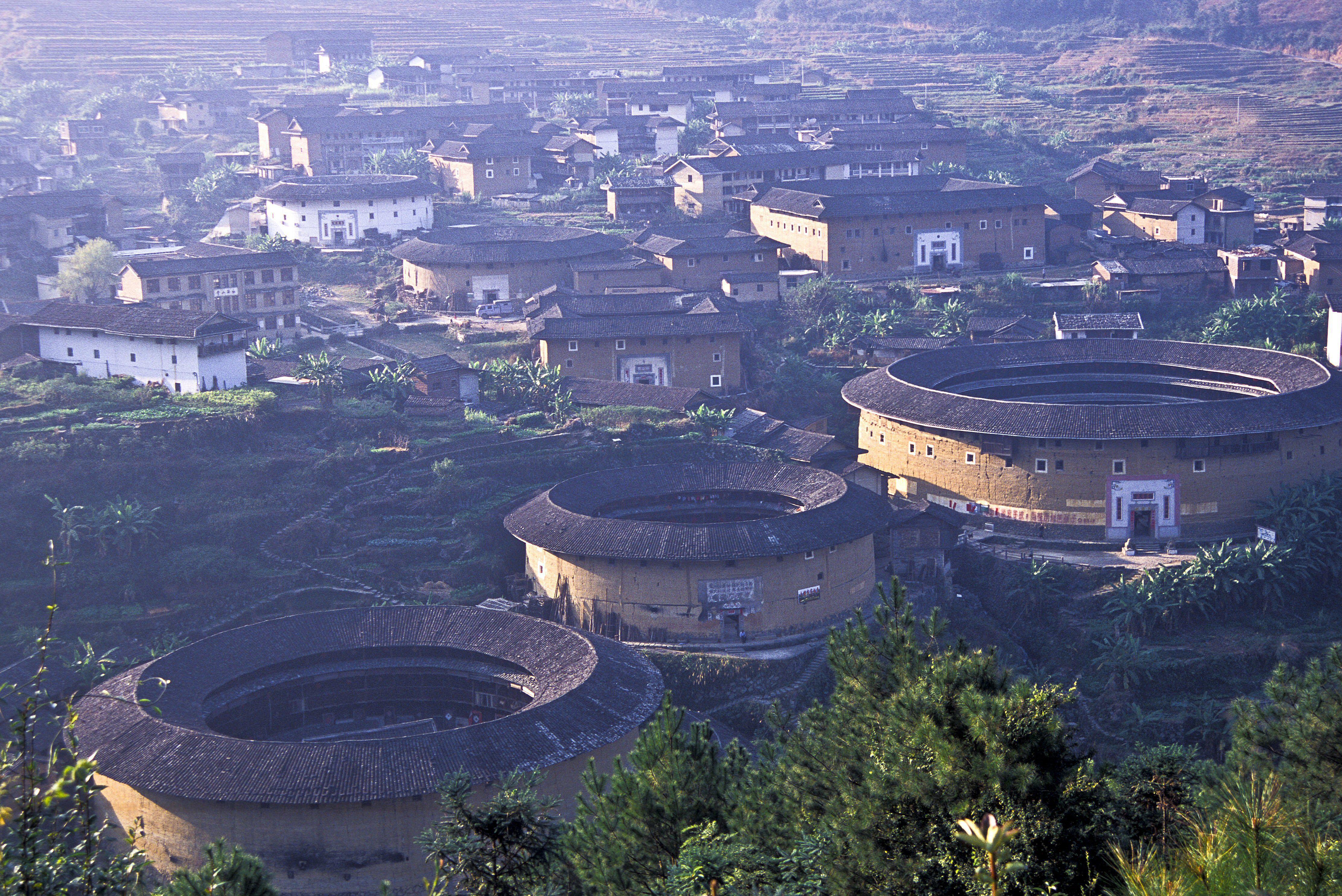 Hakka Earth Dwellings in Chuxi village, Fujian Province, China