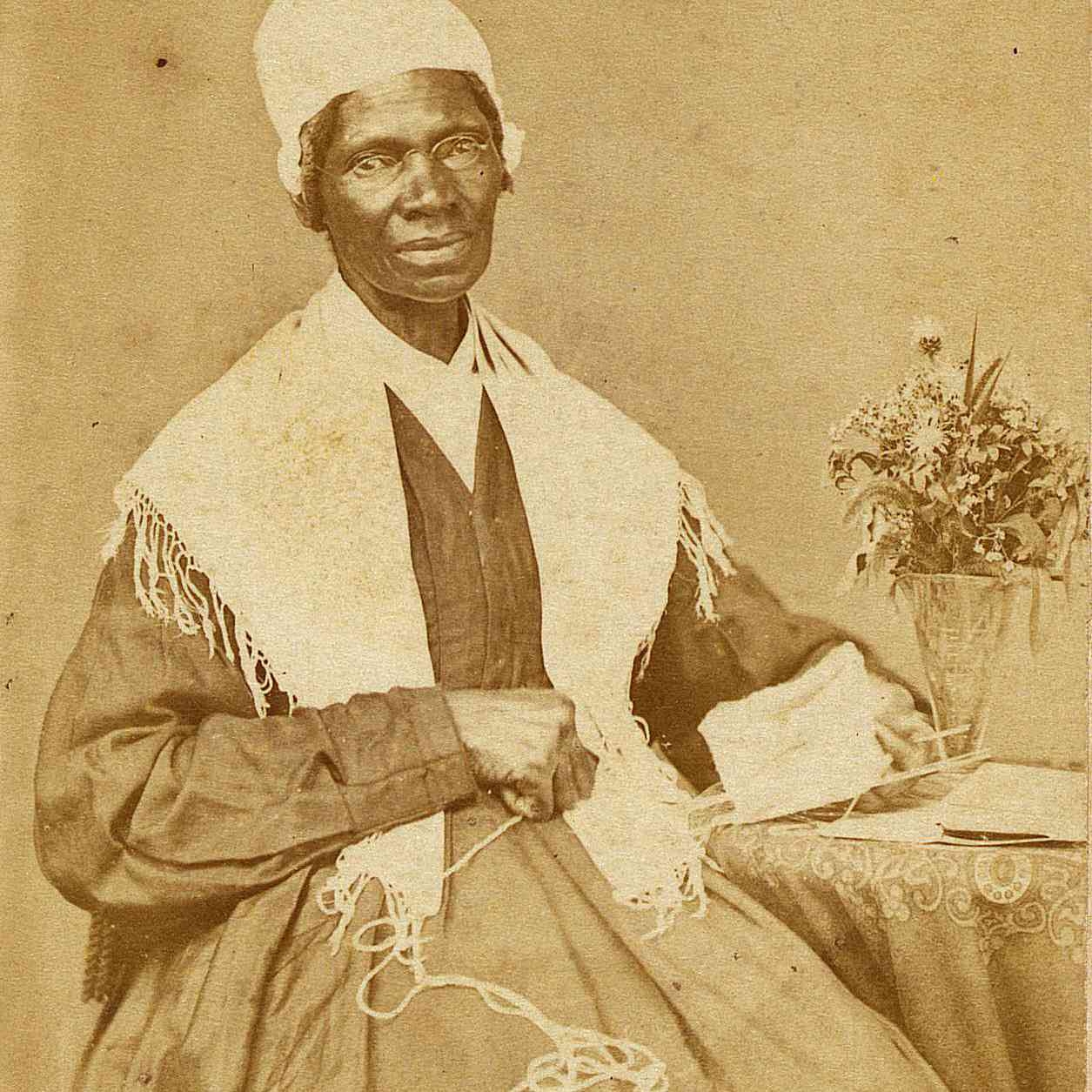 Portrait of Sojourner Truth, a Black activist and intellectual who influenced the development of feminist theory and sociology.