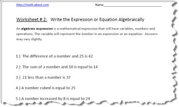 pre algebra worksheets for writing expressions algebraic expression worksheet