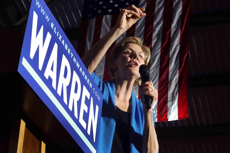 Democratic presidential candidate Elizabeth Warren making a speech