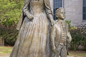 Statue of Abigail and John Quincy Adams.