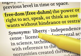 Freedom dictionary along with synonyms