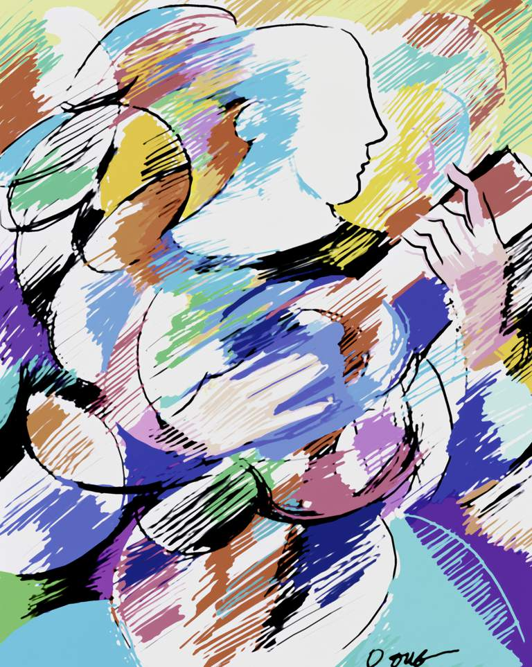 Abstract painting of a person playing a ukulele.