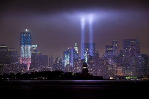 9.11 Tribute in Light over Manhattan