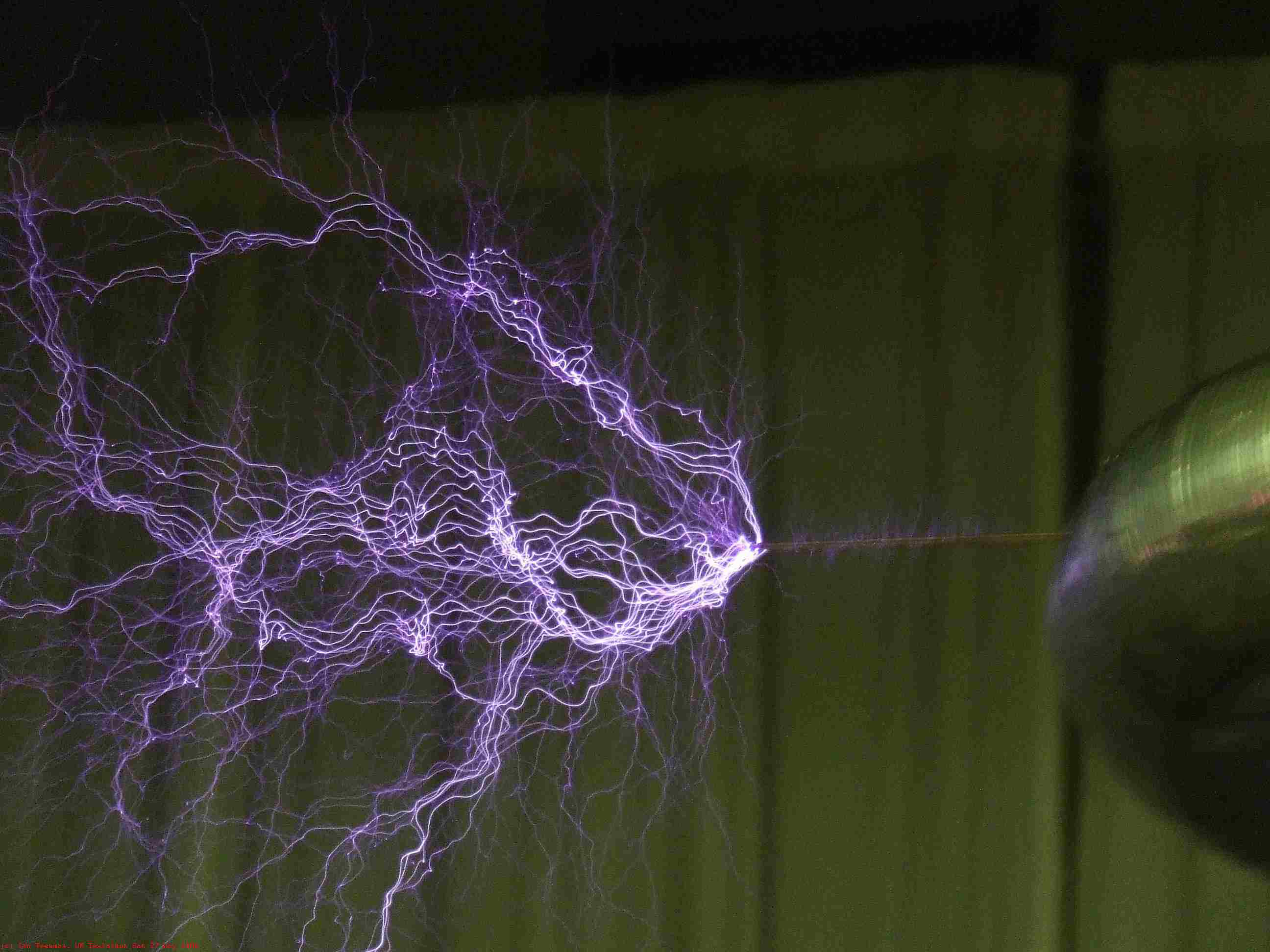 Plasma filaments from the electrical discharge of a Tesla coil.