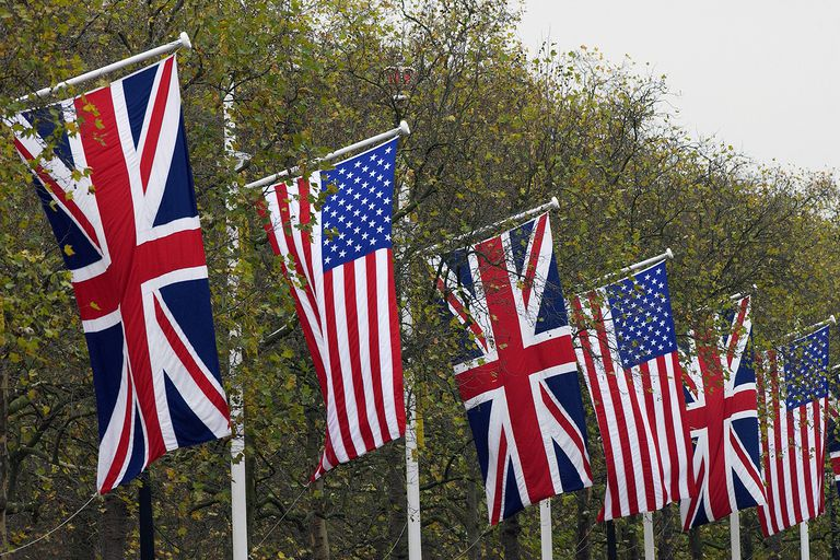 British and American flags
