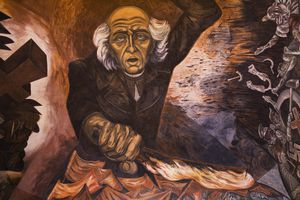 Mexico, Jalisco, Guadalajara, Governors Palace, ceiling mural of Miguel Hidalgo (Mexican revolutionary hero), painted by Jose Clemente Orozco.