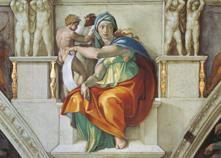 Michelangelo's Delphic Sibyl (1508–1512), Detail of Vault in the Vatican Museum.