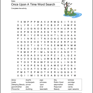 Fairy Tales Wordsearch, Crossword Puzzle, and More