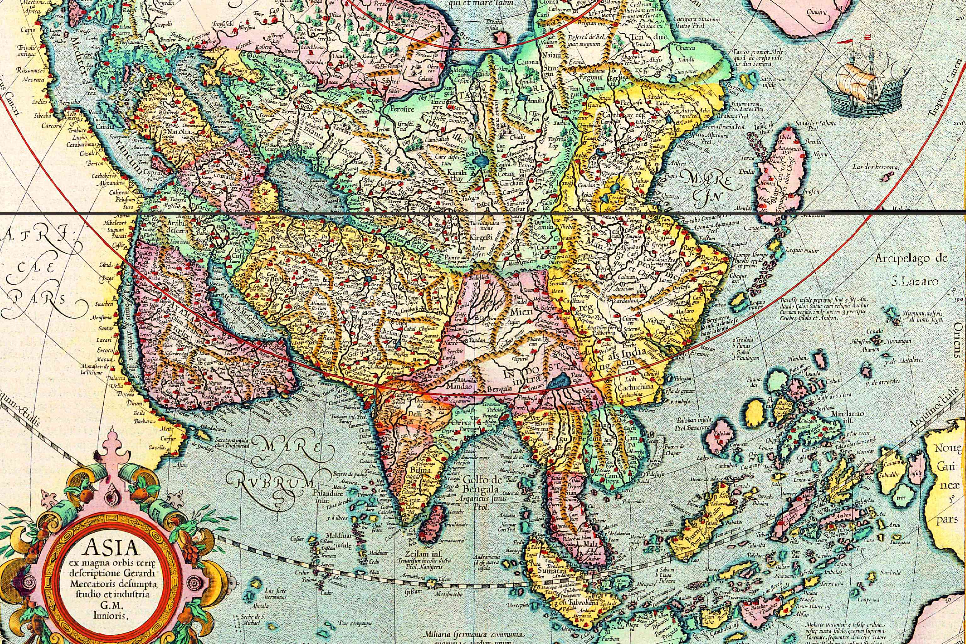 An ancient map of Asia by Flemish cartographer Jodocus Hondius