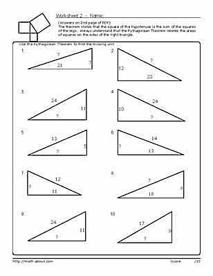 Pythagorean\'s Theorem Worksheets