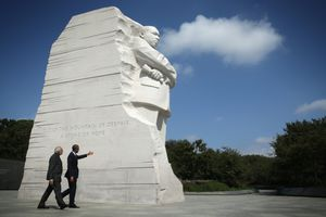 Obama and Indian Prime Minister at the MLK Memorial