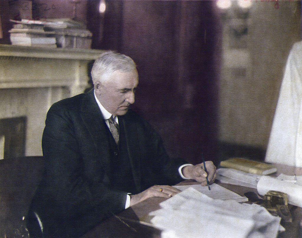 President Warren G. Harding At Desk