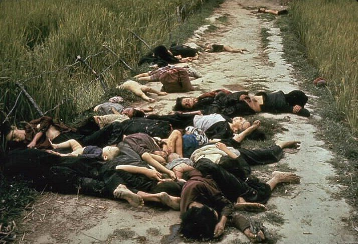 Men, women and children massacred by Charlie Company at My Lai.
