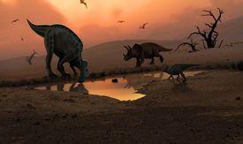 Dinosaurs at watering hole