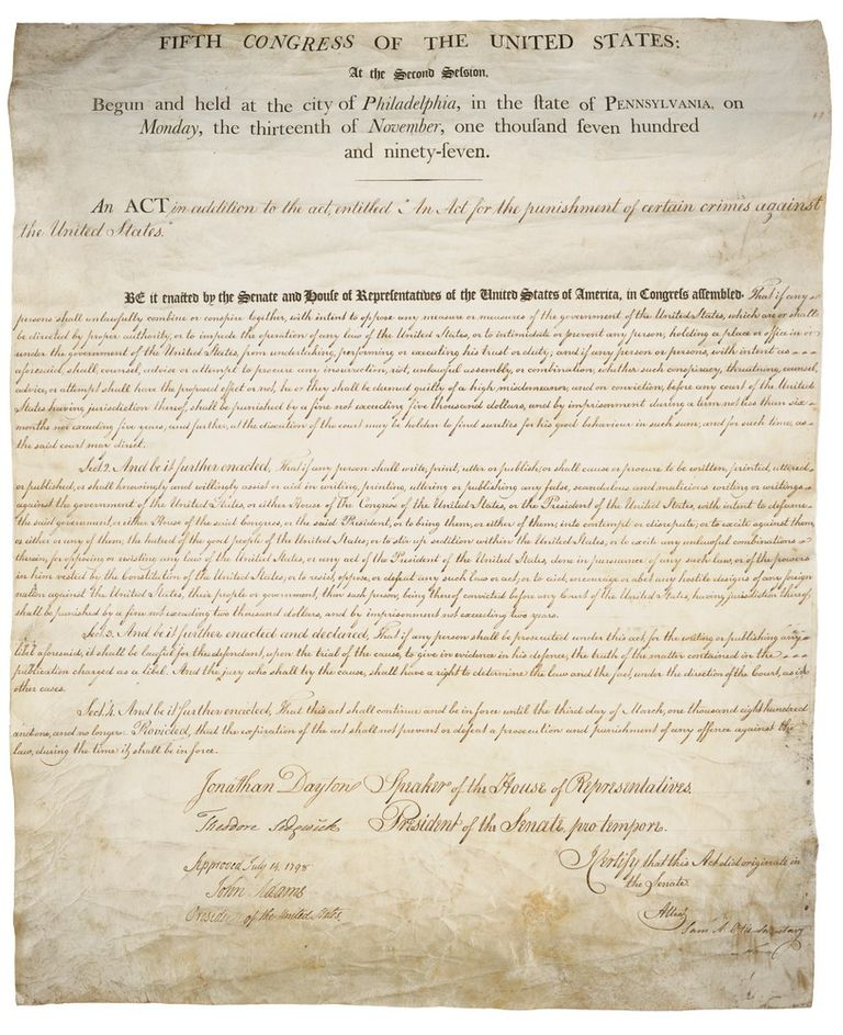 The original, handwritten copy of the Sedition Act of 1798