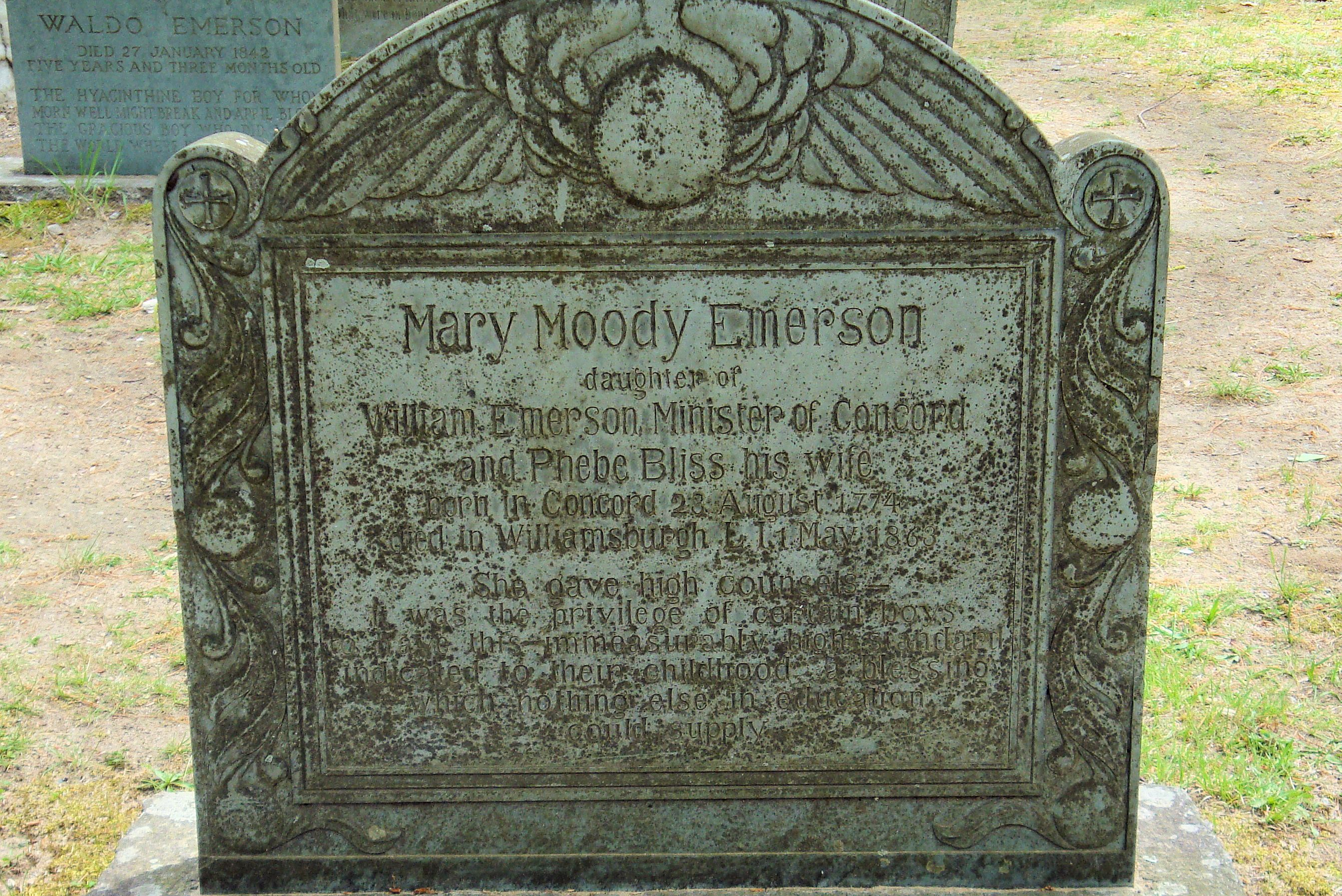 The headstone of Mary Moody Emerson in Sleepy Hollow Cemetery, Concord, Massachusetts