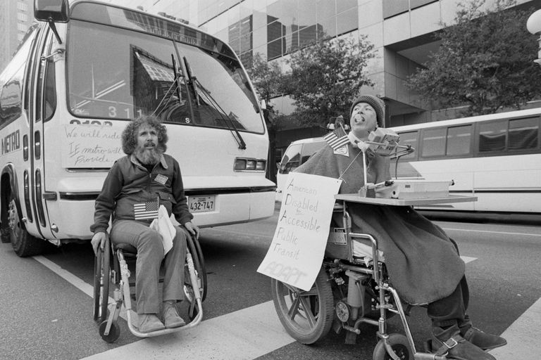 People in Wheelchairs Demonstrate