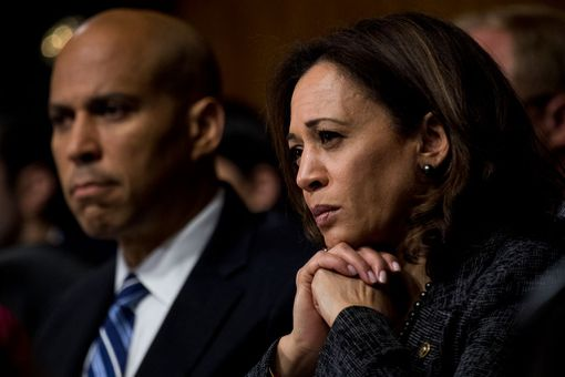 Close up of Kamala Harris in three-quarter profile.
