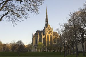 Heinz Chapel at dawn, gothic cathedral on the University of Pittsburgh campus in Pennsylvania, PA, USA.