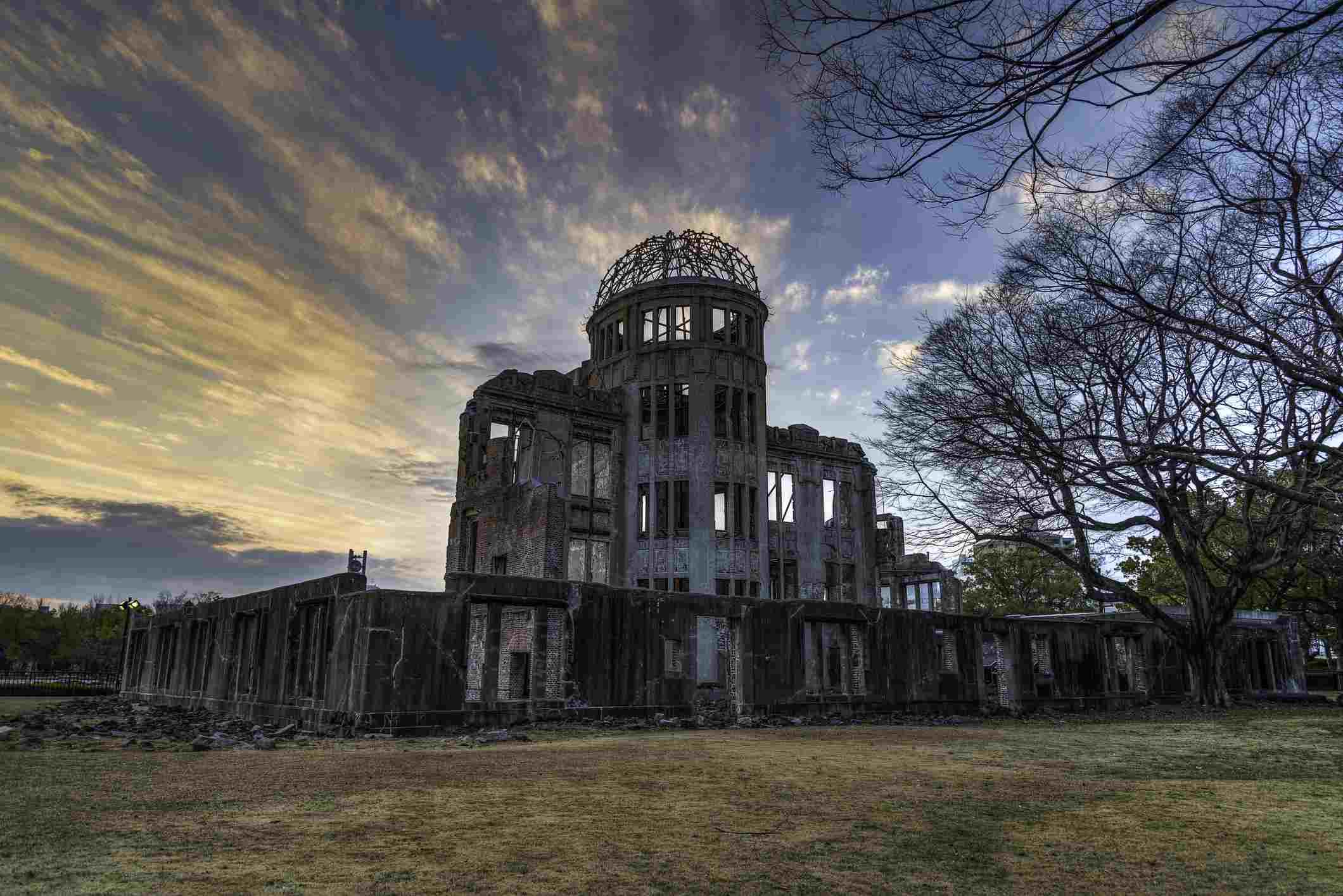 Hiroshima A-Bomb Dome at sunset