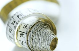A roll of meter tape using the metric system