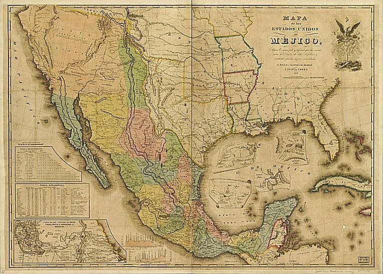 Mexico-USA map, circa 1845