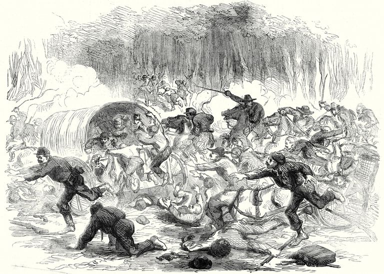 Illustration of retreat at Bull Run in 1861