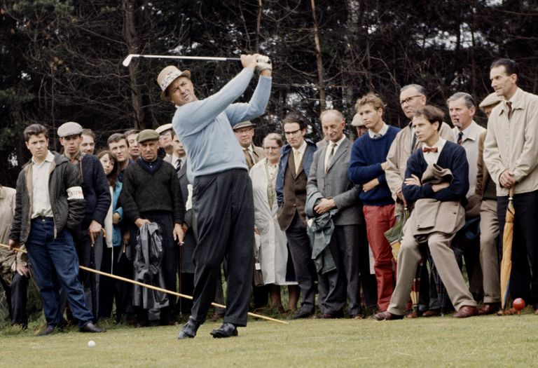 Sam Snead of the United States practises his swing on 1st September 1962 at The Walton Heath Golf Club in Walton on the Hill, United Kingdom