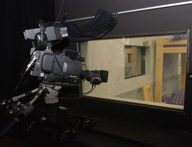 Camera filming through a two-way-mirror