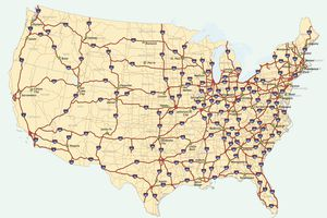Map of the 48 conterminous United States with the Interstate system marked.