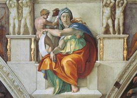Michelangelo's Delphic Sibyl (1508–1512), Detail of Vault in the Vatican Museum.