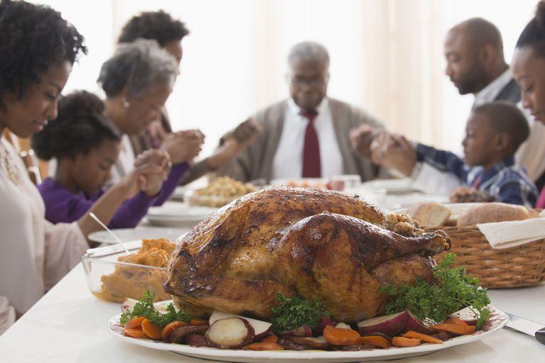 family praying before Thanksgiving dinner