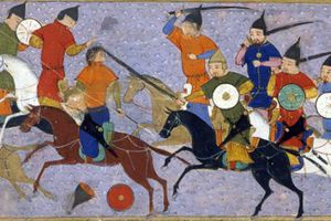 A battle between the Mongol nomads and the settled people of China, as depicted in artwork.