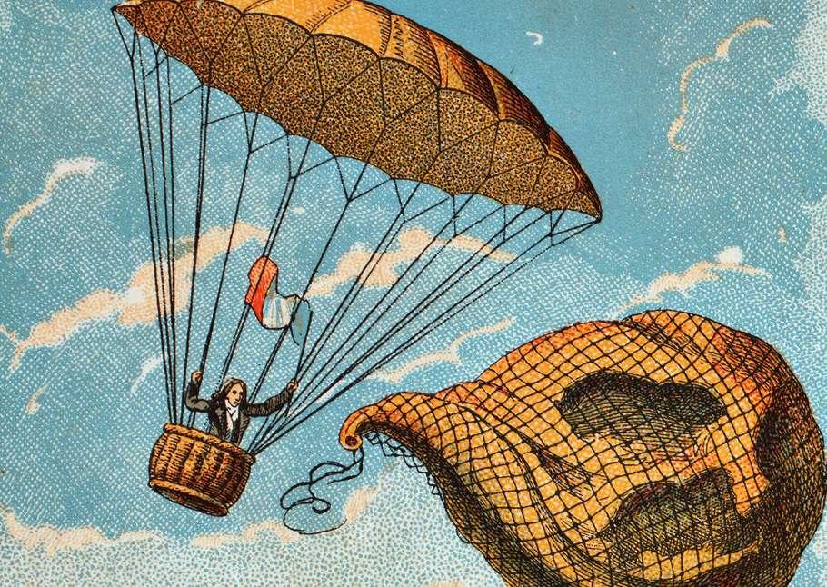 Color sketch of Andrew Garnerin's parachute design.