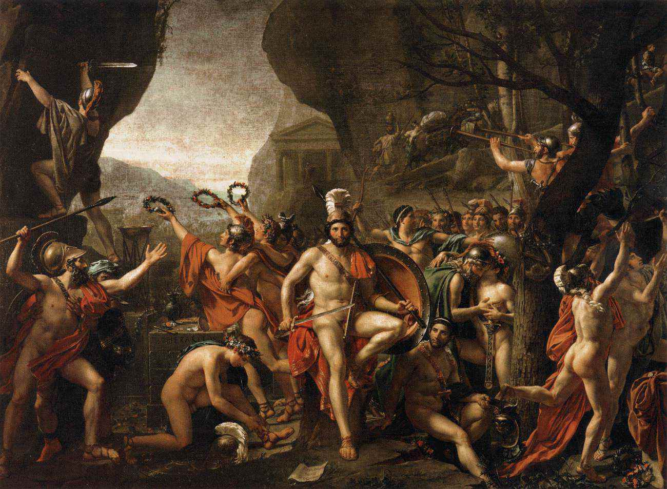 Leonidas at Thermopylae oil painting.
