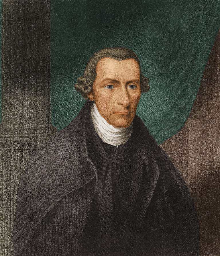 Portrait of Patrick Henry on front of curtain.