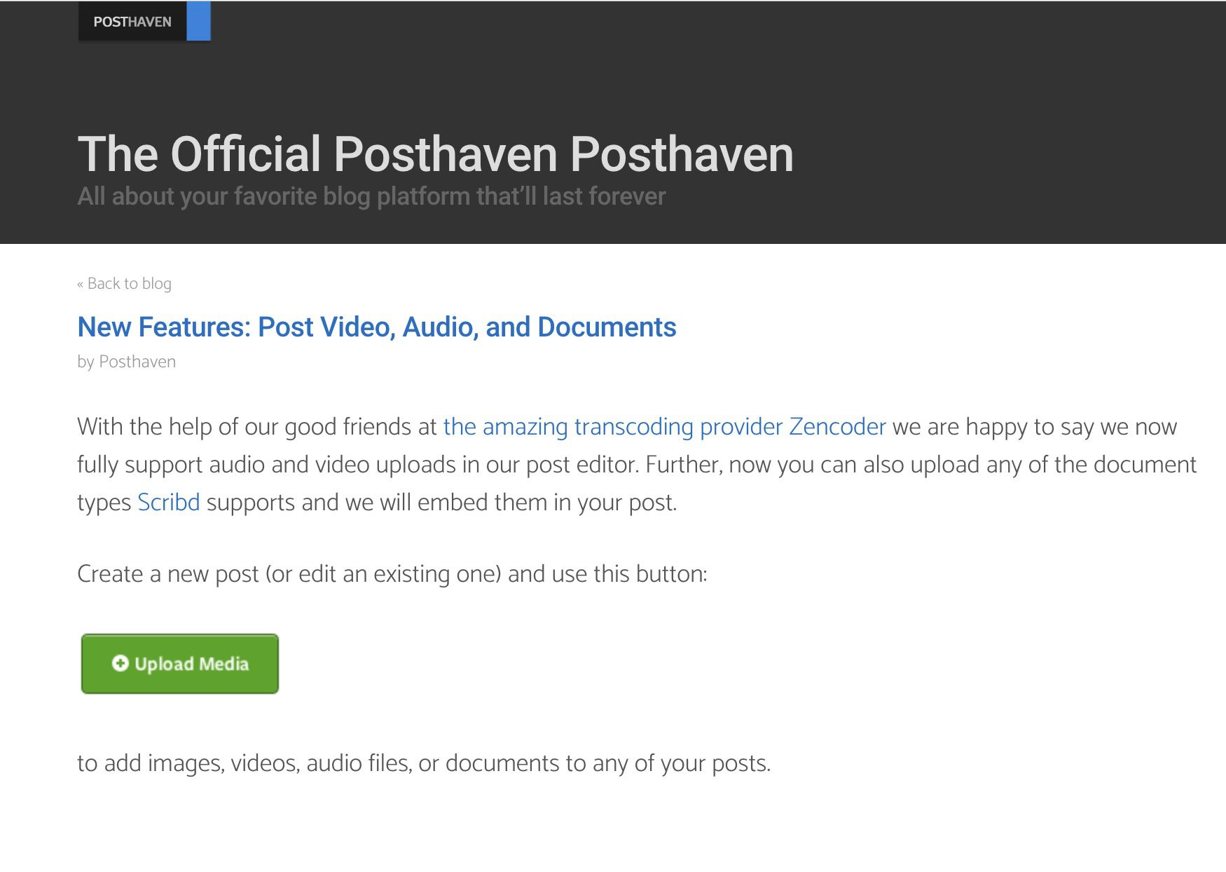 Posthaven announcement about Video, Audio, and Document support