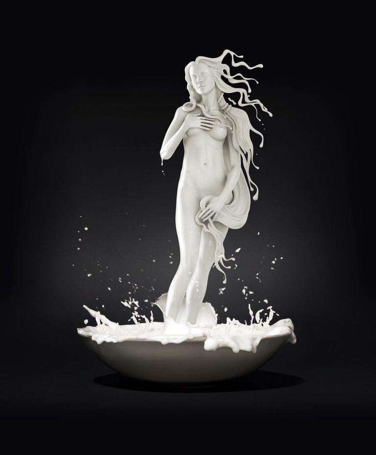 Venus appearing in a bowl of milk