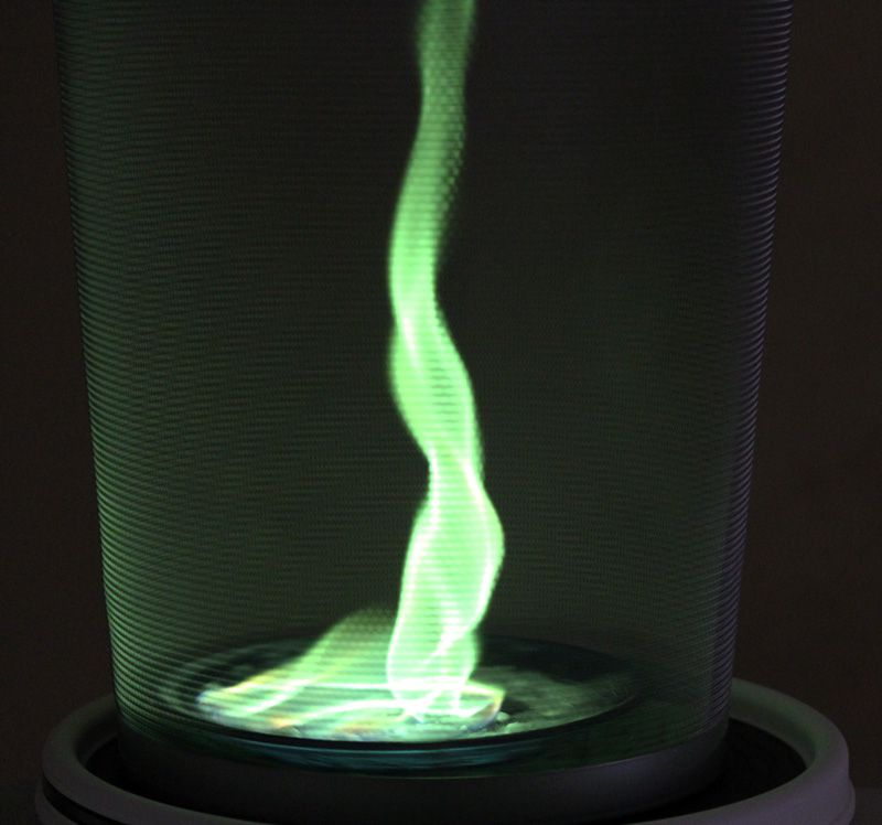 This fire vortex is colored green using a boron salt