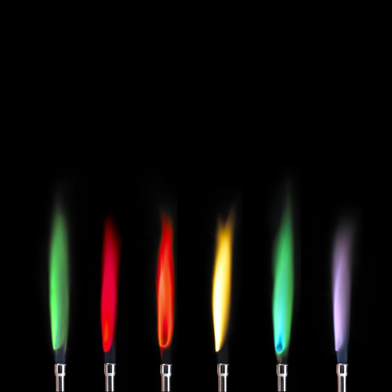 Perform a tabletop chem demo that shows how fireworks colors are created.