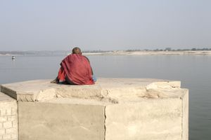 A man overlooking the Ganges river