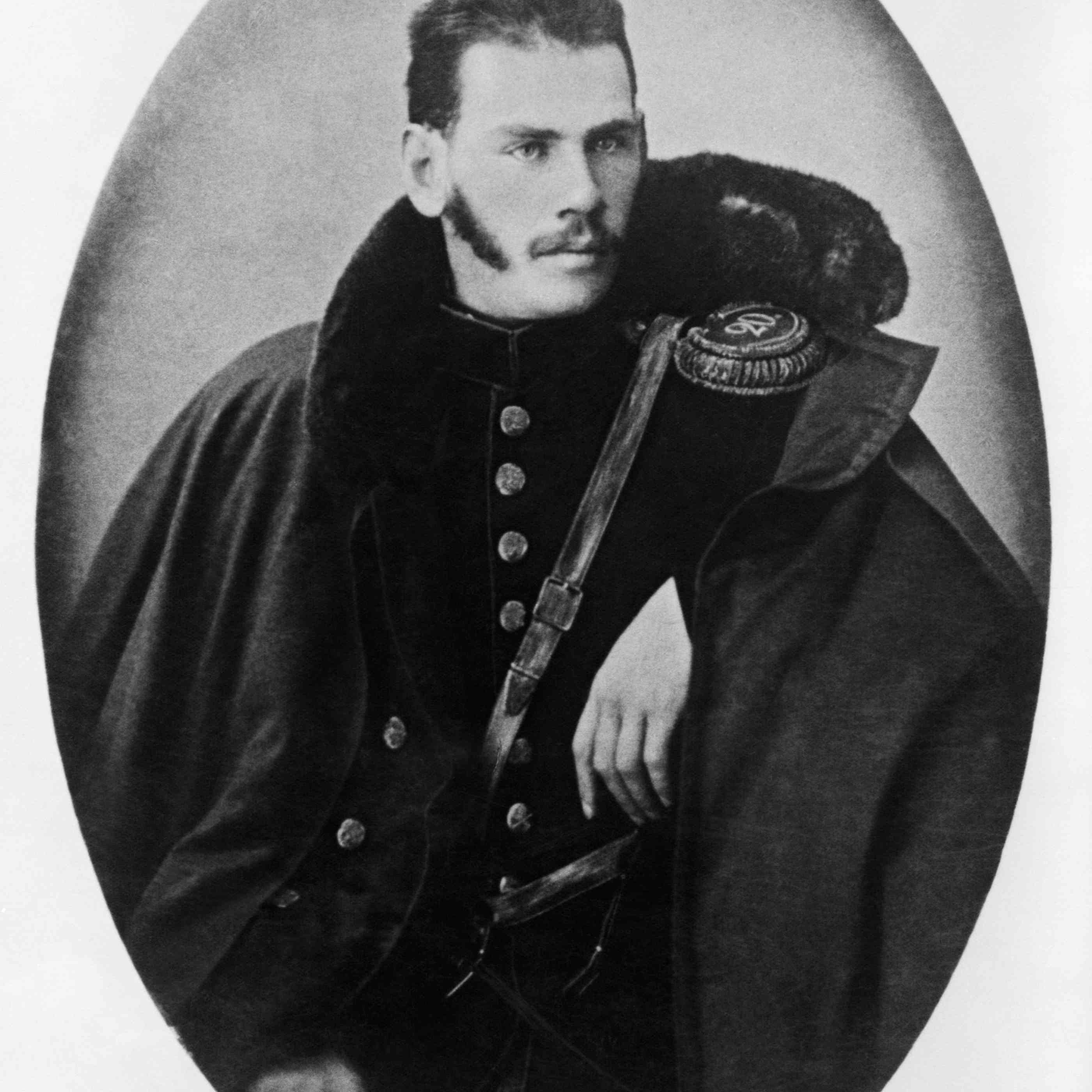 Portrait of young Tolstoy in military uniform