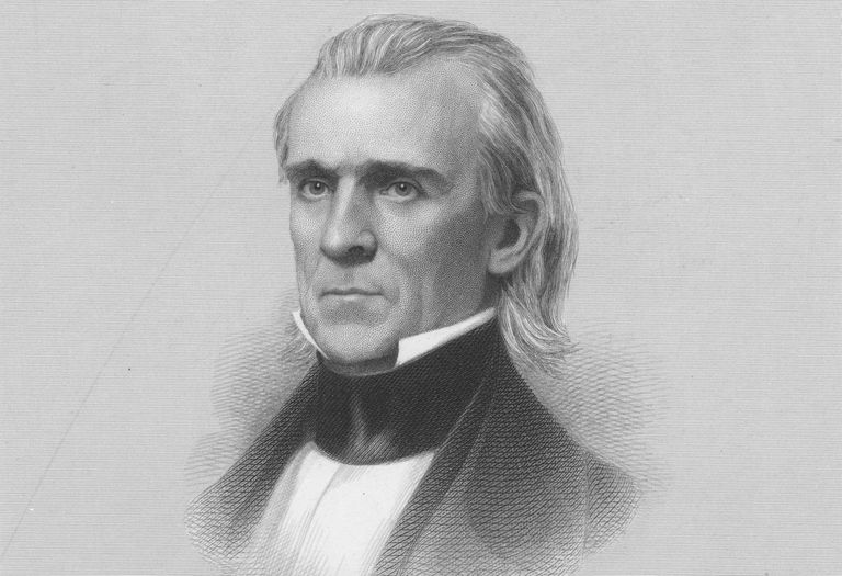 Engraved portrait of James K Polk