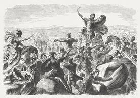 Battle of the Catalaunian Plains between Romans and Huns (451)