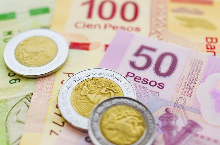 Mexican Currency And Coins Pesos Mexicanos