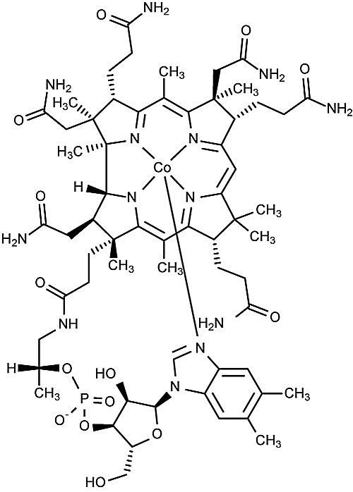 This is the chemical structure of vitamin B12 or cobalamin.